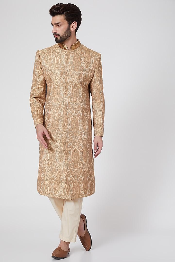 Beige Embroidered Brocade Sherwani by Samant Chauhan Men