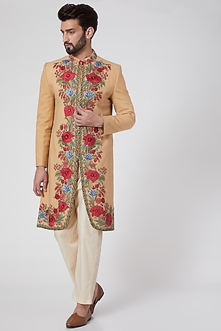 Beige Floral Embroidered Jacket by Samant Chauhan Men