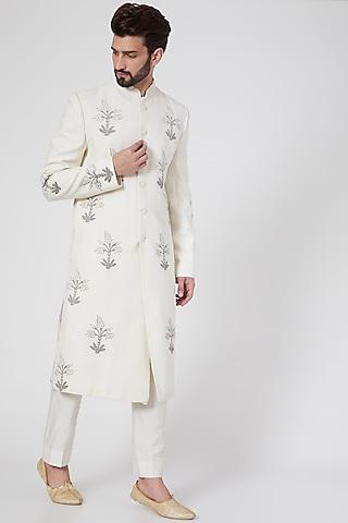 White Block Printed Sherwani by Samant Chauhan Men