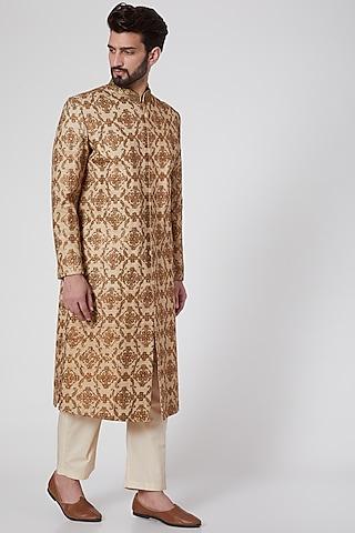 Gold Zardosi Embroidered Sherwani by Samant Chauhan Men