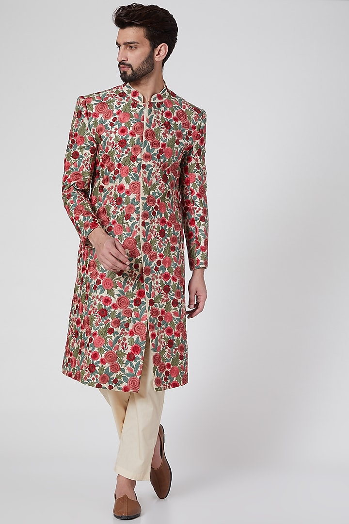 Gold Embroidered Sherwani by Samant Chauhan Men