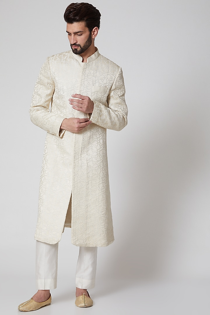 White Tonal Embroidered Sherwani by Samant Chauhan Men