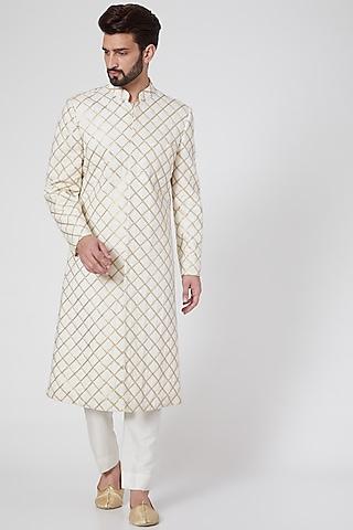 White Zardosi Embroidered Sherwani by Samant Chauhan Men