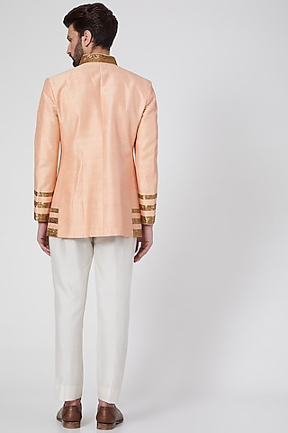 Peach Embroidered & Textured Waistcoat by Samant Chauhan Men