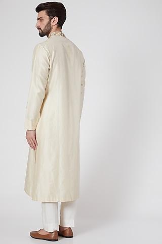 White Thread Embroidered Kurta by Samant Chauhan Men