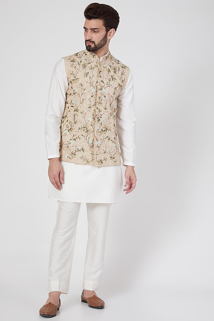 Beige Thread Embroidered Jacket by Samant Chauhan Men