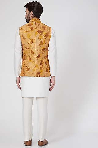 Copper Embroidered Jacket With Kurta by Samant Chauhan Men