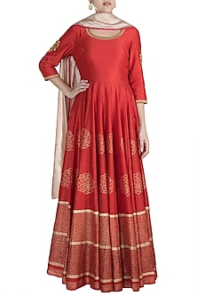 Red Embroidered Anarkali With Printed Dupatta by Samant Chauhan