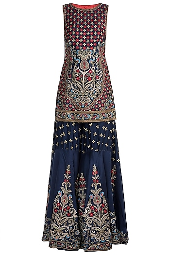 Navy Blue Embroidered Sharara Set by Samant Chauhan