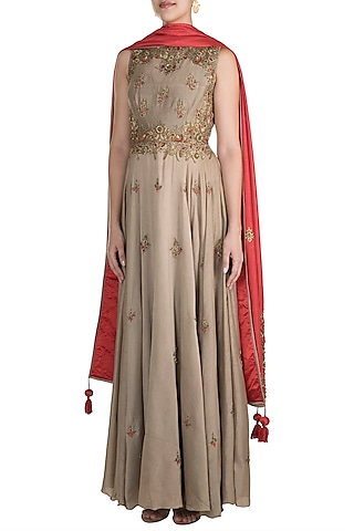 Grey Embroidered Anarkali With Dupatta by Samant Chauhan
