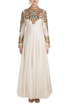 Off White Embroidered High Neck Jacket Gown by Samant Chauhan