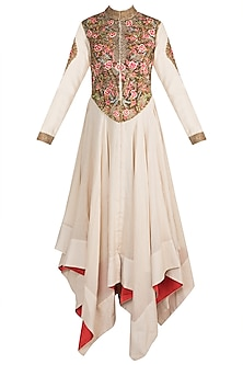 Off White Embroidered Shimmer Jacket Gown by Samant Chauhan