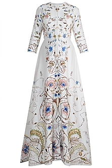 Off White Embroidered Front Open Jacket Gown by Samant Chauhan