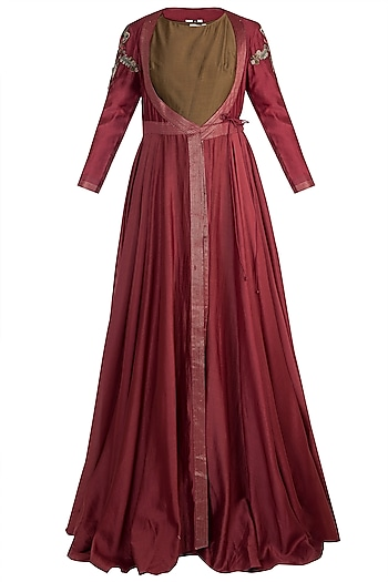 Wine Embroidered Gown WIth Inner by Samant Chauhan
