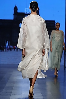 Off White Embroidered Jacket With Inner & Slip by Samant Chauhan