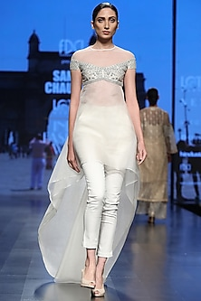 Off White Trail Tunic With Pants by Samant Chauhan