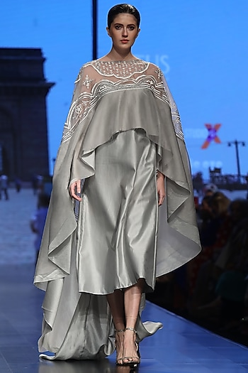 Grey Cotton Silk Kaftan by Samant Chauhan