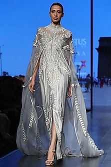 Powder Blue Embroidered Cape Gown by Samant Chauhan