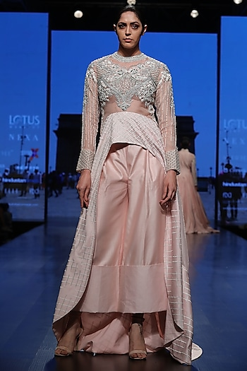 Pink Trail Top With Palazzo Pants by Samant Chauhan