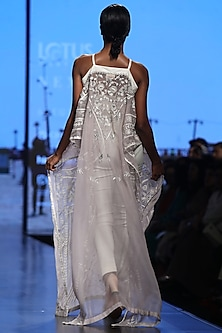 Off White A-Line Dress With Pants by Samant Chauhan