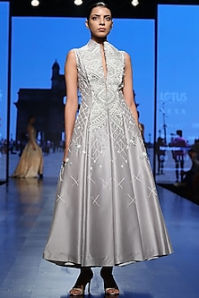 Grey Embroidered Front Open Gown by Samant Chauhan