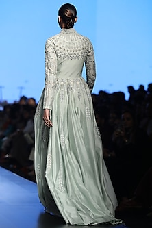 Mint Green Front Open Gown by Samant Chauhan