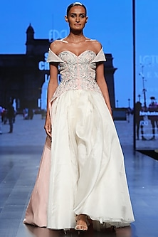 Peach & Off White Embroidered Front Open Gown by Samant Chauhan
