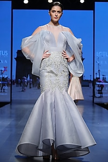 Powder Blue Mesh Gown by Samant Chauhan