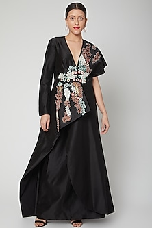 Black Embroidered Gown With Pleats by Samant Chauhan-POPULAR PRODUCTS AT STORE