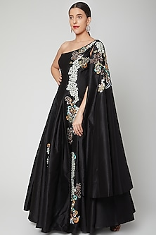 Black Embroidered One Sleeve Gown by Samant Chauhan-POPULAR PRODUCTS AT STORE