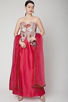 Fuchsia Floral Embroidered Skirt Set by Samant Chauhan-POPULAR PRODUCTS AT STORE