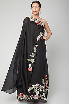 Black Embroidered Trail Gown by Samant Chauhan-POPULAR PRODUCTS AT STORE