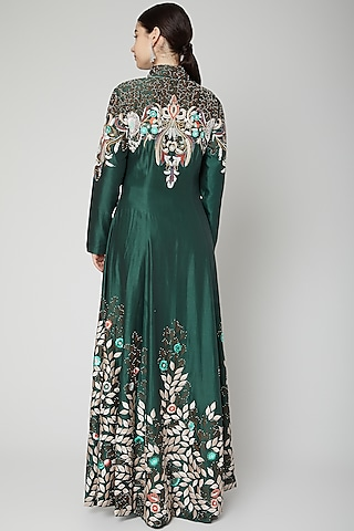 Emerald Green Embroidered Jacket With Pants by Samant Chauhan