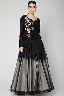 Black Embroidered Layered Skirt Set by Samant Chauhan-POPULAR PRODUCTS AT STORE