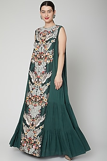Emerald Green Embroidered Tiered Gown by Samant Chauhan-POPULAR PRODUCTS AT STORE