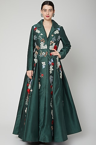 Emerald Green Embroidered Jacket Gown by Samant Chauhan