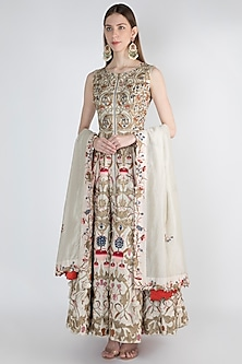 Off White Embroidered Printed Anarkali With Dupatta by Samant Chauhan
