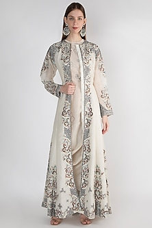 Off White Floral Printed Jacket by Samant Chauhan