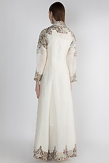 Off White Embroidered Printed Jacket by Samant Chauhan