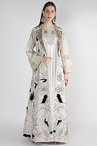 Off White Floral Printed Jacket With Inner by Samant Chauhan
