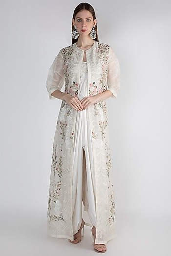 Off White Printed Embroidered Jacket With Inner by Samant Chauhan
