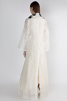 Off White Embroidered Printed Jacket With Inner by Samant Chauhan