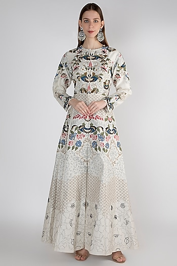Off White Floral Printed Gown by Samant Chauhan