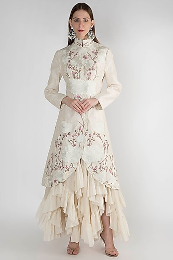 Off White Printed Embroidered Jacket by Samant Chauhan