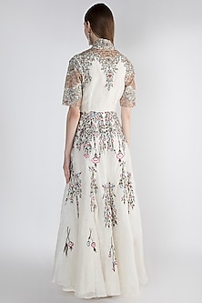 Off White Embellished Printed Gown by Samant Chauhan