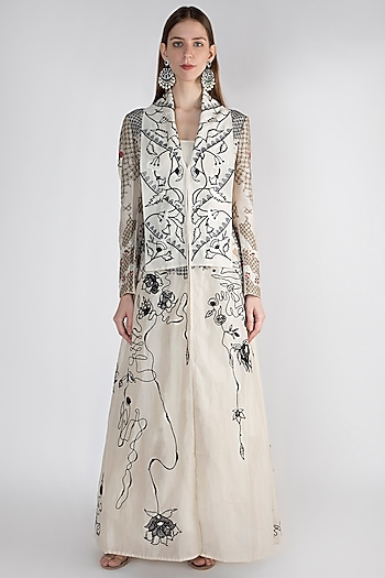 Off White Embroidered Jacket With Inner by Samant Chauhan
