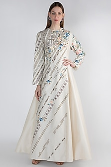 Off White Printed Gown by Samant Chauhan