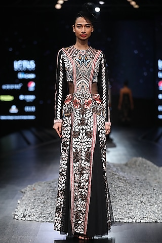 Black Thread Embroidered Cotton Silk Gown by Samant Chauhan