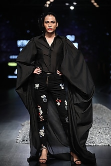 Black Embroidered Jumpsuit With Long Sleeves by Samant Chauhan