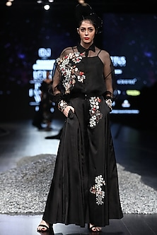 Black Embroidered Palazzo Jumpsuit by Samant Chauhan